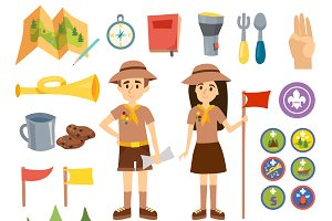 Boy scouts and camping vector set