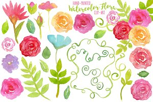 Watercolor Flora Elements