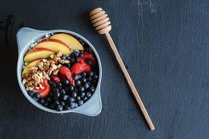 Healthy breakfast in blue bowl