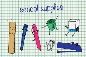 Cartoon school supplies. Vector
