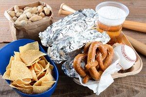 Food and Souvenirs at a Baseball Gam