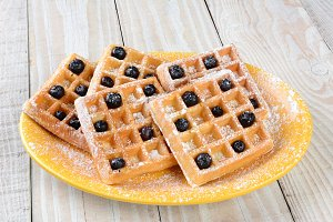 Plate of Waffles and Blueberries