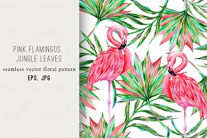 Pink flamingos,palm leaves pattern