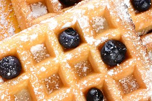 Blueberry Waffles Closeup