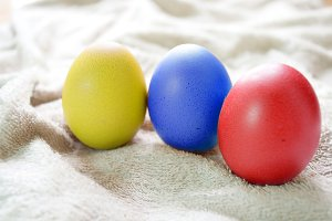 Colorful Hen eggs in the Easter day.