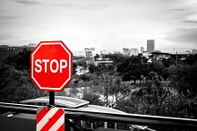 Stop sign in a black and white image