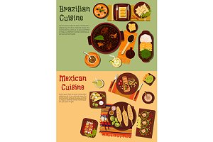 Brazilian and mexican cuisine dishes
