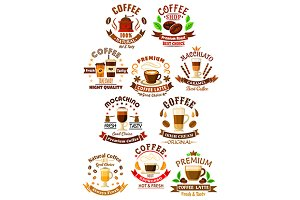 Premium coffee beverages icons