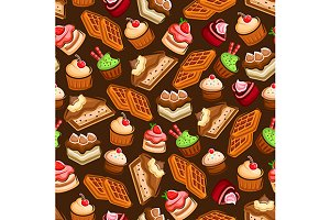 Cakes and cupcakes seamless pattern