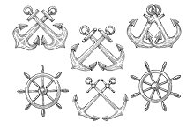Retro nautical anchors and helms