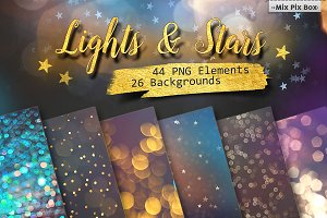 Lights & Stars Clipart + Backgrounds