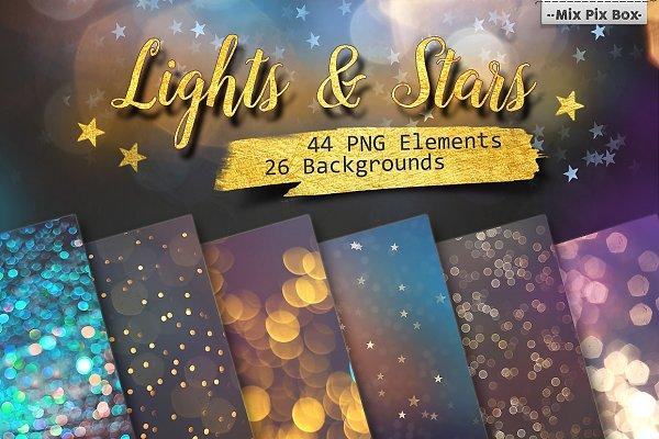 Lights & Stars Clipart + Background…