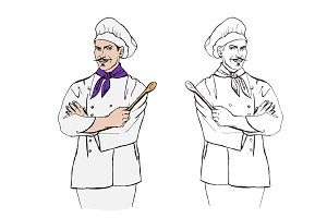 Chef cook. Vector illustration.