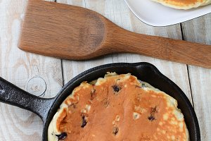 Skillet With Blueberry Pancakes