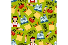 Grocery shopping seamless pattern