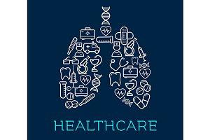 Human lungs symbol