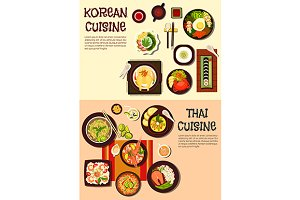 Thai and korean cuisine dihes menu