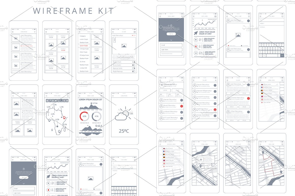 Wireframe Kit ~ Wireframe Kits ~ Creative Market