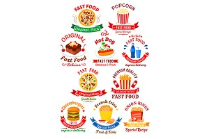Fast food icons and emblems