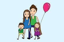 Doodle happy family. Vector
