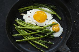 Eggs with asparagus in skillet