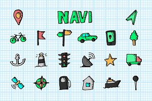 Navi icon set. Doodle vector