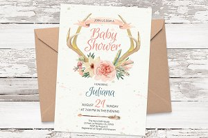 Antlers watercolor card template 21