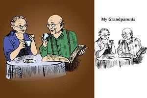 Happy old couple. Vector