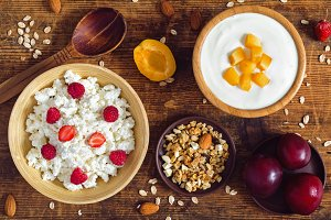Healthy rustic breakfast table set
