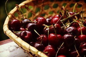 Cherry jam/ cherry basket / fresh cherries background/ top view