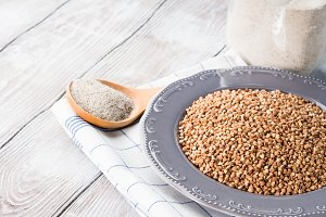 Buckwheat flour and grain