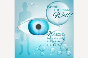 Eyes Lubricating. Water concept