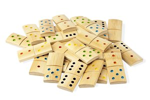 Pile of isolated dominoes