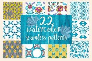 Watercolor oriental patterns