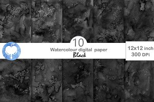 Black Watercolor Digital Paper