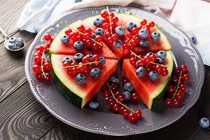 Watermelon cake with fresh berries