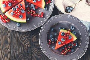 Watermelon cake with fresh berries