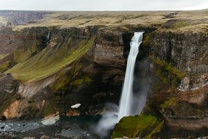 High Waterfall dropping off Mountain