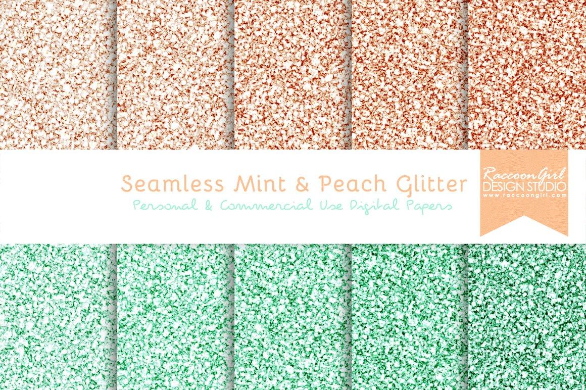 Seamless Mint Peach Glitter Textures Creative Market