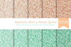 Seamless Mint & Peach Glitter