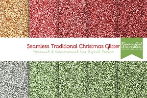 Seamless TraditionalChristmasGlitter