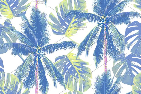 tropical palm trees leaves pattern graphic patterns creative market