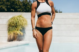 Slim young woman athlete