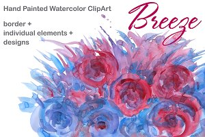 Watercolor border Breeze