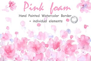 Watercolor border Pink Foam