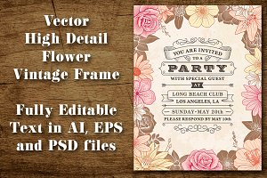 Vintage Party Flower Frame