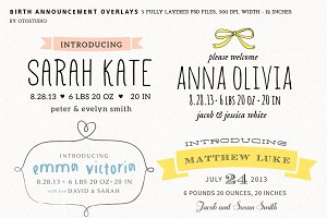 Birth Announcement Overlays - Set 1