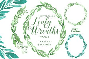BUNDLE of Watercolor Leaves Clipart
