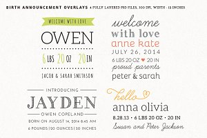 Birth Announcement Overlays - Set 2