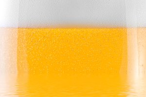 close-up shot of a glass of beer